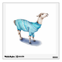 Llama in Blue Sweater Wall Decal
