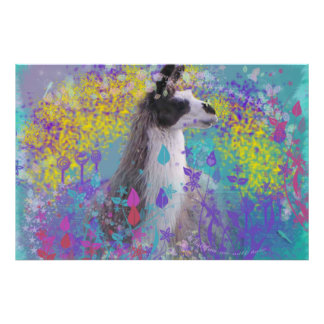 Llama in Fantasy Dream Land Poster