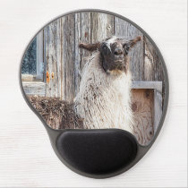 Llama in front of a barn gel mouse pad