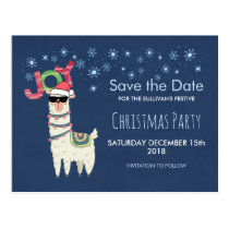 Llama in Santa Hat with Snowflakes Save the Date Postcard