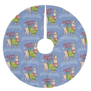 Llama Christmas Tree.Llama In Snow Brushed Polyester Tree Skirt