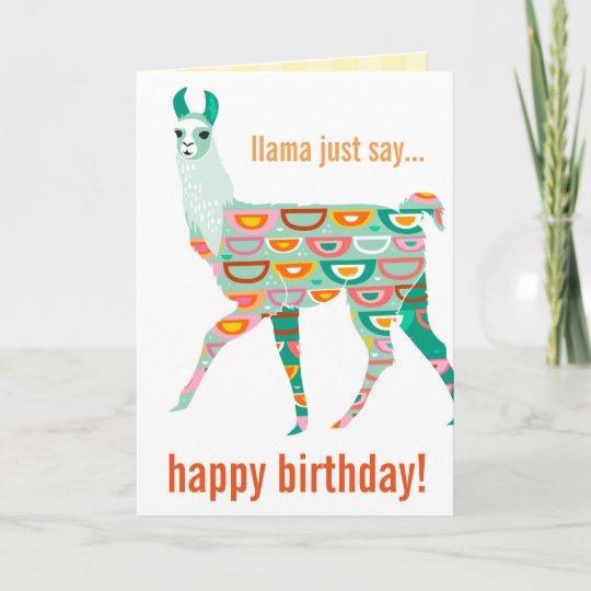 Llama Just Say Happy Birthday Green Llama Card