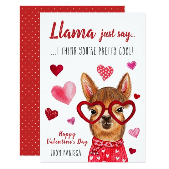 Llama Just Say Valentine S Day Card Zazzle Com