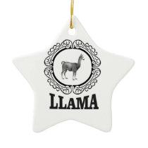 llama label ceramic ornament