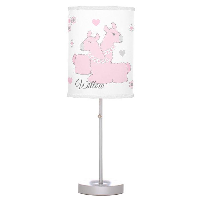 Pink Elephant Lamp Shade With Hearts, Jungle Lamp Nursery