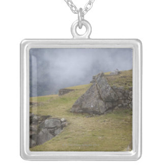 Llama (Lama glama) amongst the Inca terraces at Silver Plated Necklace