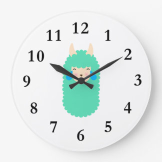 Llama Laughing Emoji Large Clock