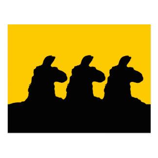 Llama: llama siloutted 3 en negro postal