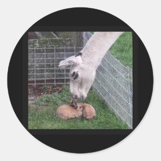 Llama Llove and Bunny Round Sticker