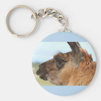 Llama looking left-Brown llama in a field Key Chains