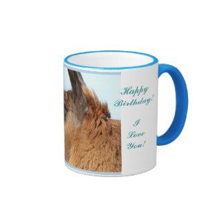 Llama looking left-Brown llama in a field Ringer Mug