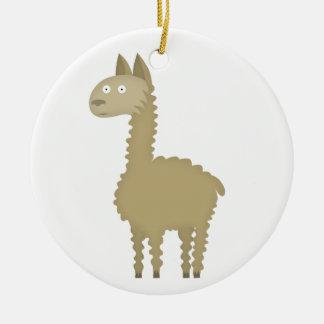Llama love ceramic ornament