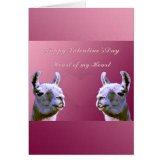 Llama love valentine day heart doube llama card