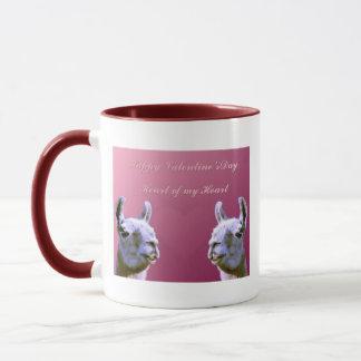 Llama love valentine day heart doube llama mug