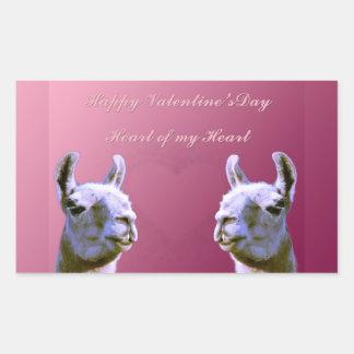Llama love valentine day heart doube llama rectangular sticker