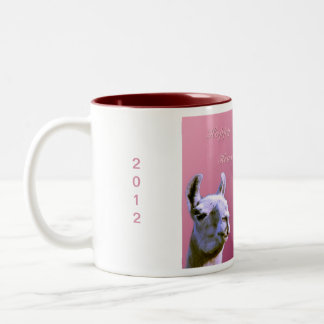 Llama love valentine day heart doube llama Two-Tone coffee mug