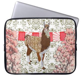 Llama Olive Damask Cherry Blossom Computer Sleeve