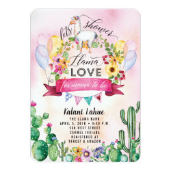 Llama Party Watercolor Baby Shower Invitation