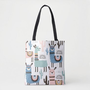 OneSevenFour Llama Patterned Tote in Blue, Green & Pink