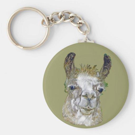 Llama Picture Basic Round Button Keychain