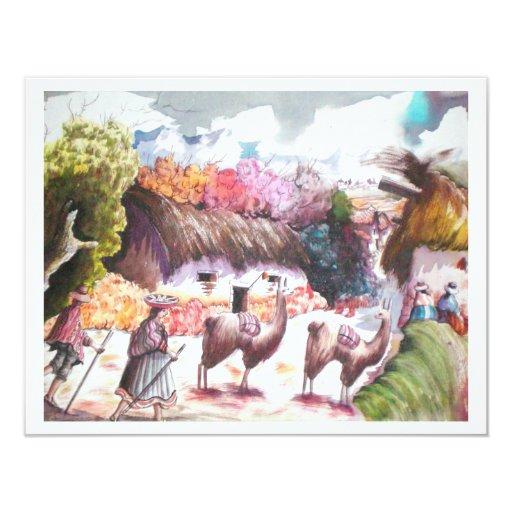 Llama Picture Peru village 4.25x5.5 Paper Invitation Card