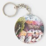 Llama Picture Peru village Basic Round Button Keychain