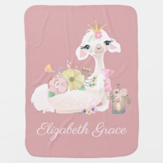 Llama Pink and White with Flowers Girly Baby Blanket
