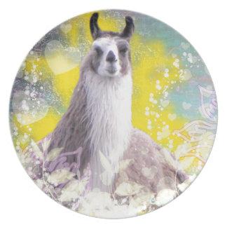 Llama Repose Fiberous Male Llama Montana Smoke Dinner Plate