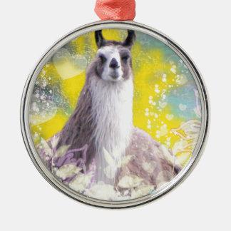 Llama Repose Fiberous Male Llama Montana Smoke Christmas Ornaments