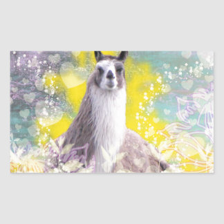 Llama Repose Fiberous Male Llama Montana Smoke Rectangular Sticker