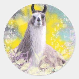 Llama Repose Fiberous Male Llama Montana Smoke Round Sticker
