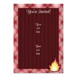 Llama roja del fuego de la tela escocesa invitación 12,7 x 17,8 cm