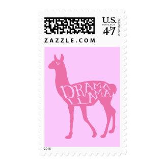 Llama rosada del drama timbre postal