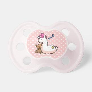 Llama rosada del pijama del gorra chupetes de bebe