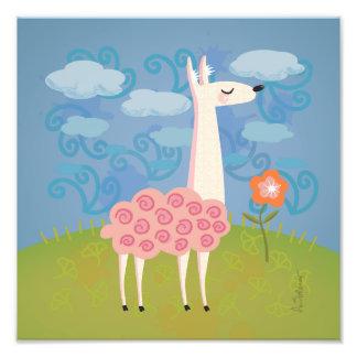 Llama rosada en la impresión del arte del cuadrado cojinete