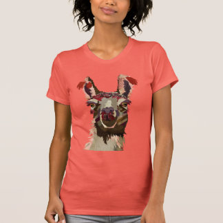 Llama rosada camiseta