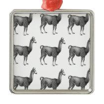 llama rows metal ornament