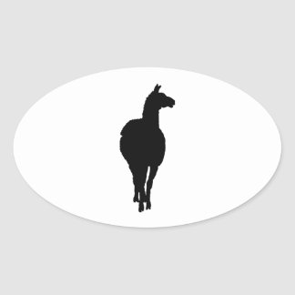 Llama Silhouette (front facing) Oval Sticker