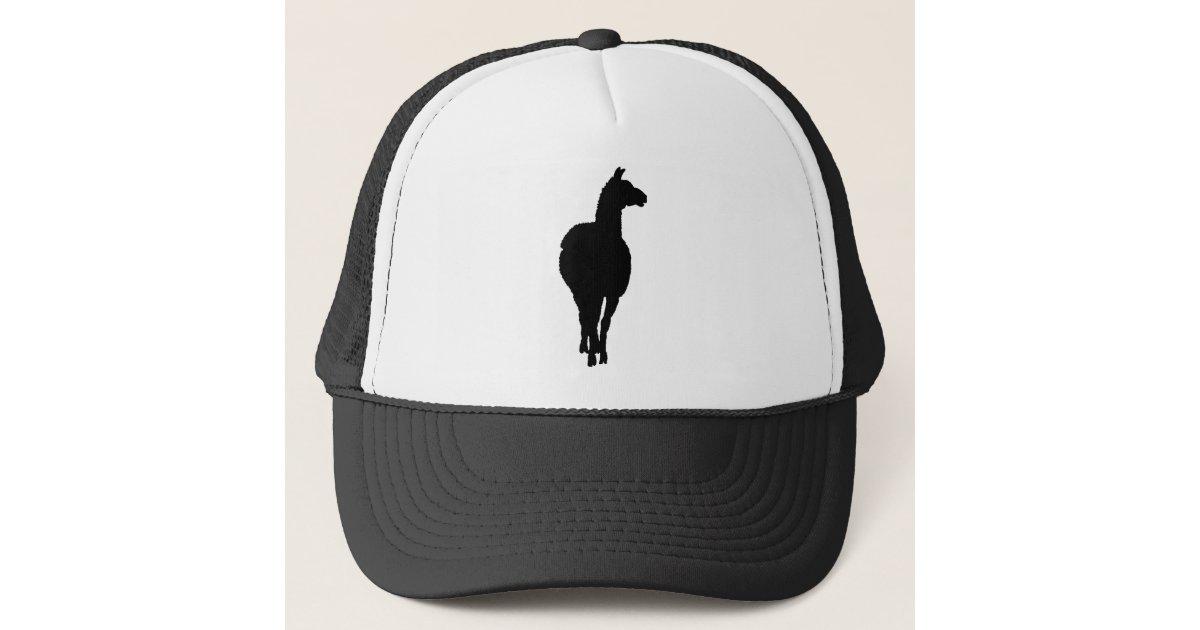 Llama Silhouette Front Facing Trucker Hat Zazzle Com