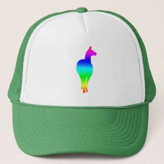 Llama Silhouette (rainbow, front facing) Trucker Hat