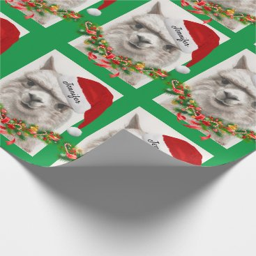 Llama Smiles Santa Hat Custom Name Christmas Wrapping Paper