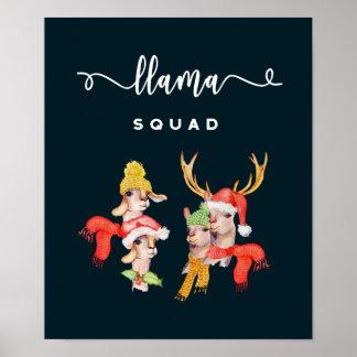 Llama Squad, Christmas Hats Watercolor Calligraphy Poster