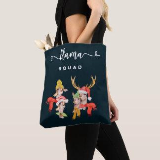 Llama Squad, Christmas Hats Watercolor Calligraphy Tote Bag