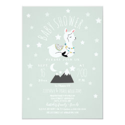 Llama Stars Blue Baby Shower Invitation