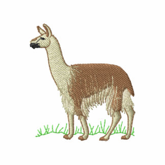 Llama Sudadera Bordada Con Capucha Y Cremallera