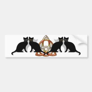 Llama Triquetra de Pentgagram de los gatos Etiqueta De Parachoque