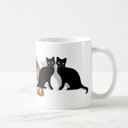 Llama Triquetra de Pentgagram de los gatos Tazas De Café