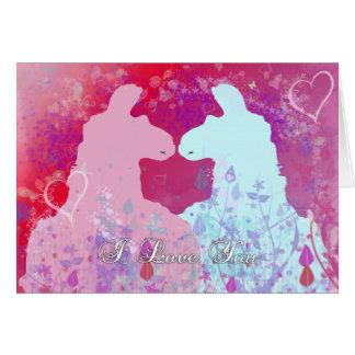 Llama: Una tarjeta del día de San Valentín de la