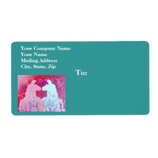 Llama: Una tarjeta del día de San Valentín de la Etiqueta De Envío