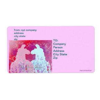 Llama: Una tarjeta del día de San Valentín de la Etiquetas De Envío